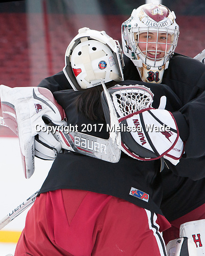 Emily Yue (Harvard - 32), Beth Larcom (Harvard - 31) - The Harvard University Crimson practiced at Fenway on Monday, January 9, 2017, in Boston, Massachusetts.