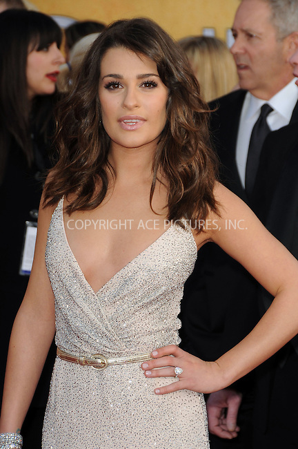 WWW.ACEPIXS.COM . . . . . ....January 30 2011, Los Angeles....Lea Michelle arriving at the 17th Annual Screen Actors Guild Awards held at The Shrine Auditorium on January 30, 2011 in Los Angeles, CA....Please byline: PETER WEST - ACEPIXS.COM....Ace Pictures, Inc:  ..(212) 243-8787 or (646) 679 0430..e-mail: picturedesk@acepixs.com..web: http://www.acepixs.com
