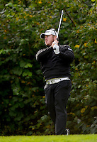 16.10.2014. The London Golf Club, Ash, England. The Volvo World Match Play Golf Championship.  Day 2 group stage matches.  George Coetzee [RSA] tee shot on the eighth.