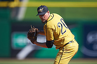 Alabama State Hornets relief pitcher Chase Laney (20) gets ready to deliver a pitch during a game against the Maryland Terrapins on February 19, 2017 at Spectrum Field in Clearwater, Florida.  Maryland defeated Alabama State 9-7.  (Mike Janes/Four Seam Images)