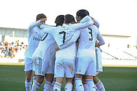 Real Madrid Castilla´s Burgui, Noblejas, Alvaro and Torro celebrates a goal during 2014-15 Spanish Second Division match between Real Madrid Castilla and Athletic Club B at Alfredo Di Stefano stadium in Madrid, Spain. February 08, 2015. (ALTERPHOTOS/Luis Fernandez) /NORTEphoto.com