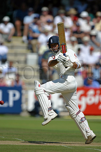 2 August 2003: England batsman Nasser Hussain batting during the 2nd test between England and South Africa at Lords. Photo: Steve Bardens/Actionplus..030802 cricket cricketer man men player test white