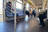 NEW YORK, NY - MARCH 24: New Yorkers Practice Social Distancing while riding Subway Train due to coronavirus concerns on March 24, 2020 in New York City. <br /> CAP/MPI/RMP<br /> ©RMP/MPI/Capital Pictures