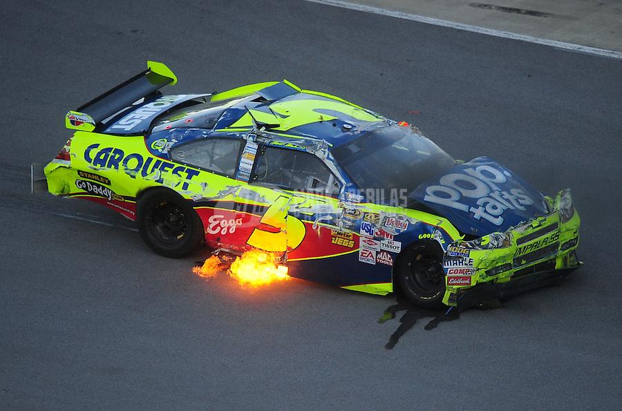 Nov. 1, 2009; Talladega, AL, USA; NASCAR Sprint Cup Series driver Mark Martin (5) after crashing during the Amp Energy 500 at the Talladega Superspeedway. Mandatory Credit: Mark J. Rebilas-