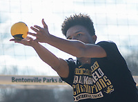 NWA Democrat-Gazette/CHARLIE KAIJO Giovanni Alawdi, 15, of Bentonville plays spike ball during a spike ball tournament, Monday, January 7, 2019 at Memorial Park in Bentonville. <br />