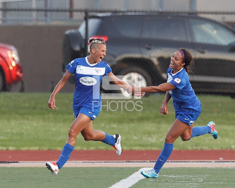 Boston Breakers forward Lianne Sanderson (10) celebrates her goal with Boston Breakers forward Sydney Leroux (2). In a National Women's Soccer League Elite (NWSL) match, the Boston Breakers (blue) tied Western New York Flash (white), 2-2, at Dilboy Stadium on June 5, 2013.