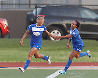 Boston Breakers forward Lianne Sanderson (10) celebrates her goal with Boston Breakers forward Sydney Leroux (2). In a National Women's Soccer League Elite (NWSL) match, the Boston Breakers (blue) tied Western New York Flash (white), 2-2, at Dilboy Stadium on June 5, 2013.