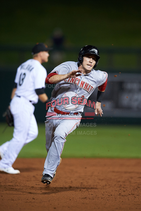 Peoria Javelinas Zach Vincej (3), of the Cincinnati Reds organization, during a game against the Salt River Rafters on October 11, 2016 at Salt River Fields at Talking Stick in Scottsdale, Arizona.  The game ended in a 7-7 tie after eleven innings.  (Mike Janes/Four Seam Images)