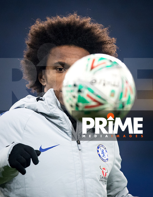 WILLIAN of Chelsea pre match during the Carabao Cup Semi-Final 2nd leg match between Chelsea and Tottenham Hotspur at Stamford Bridge, London, England on 24 January 2019. Photo by Andy Rowland.