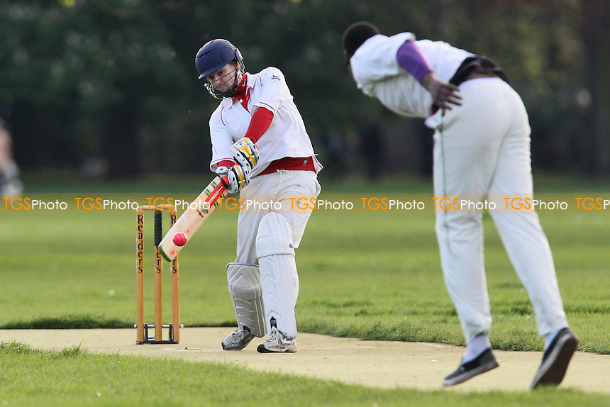 Contenders CC (fielding) vs Old Ranwellians CC - Victoria Park Community Cricket League at Victoria Park, London - 08/05/12 - MANDATORY CREDIT: Gavin Ellis/TGSPHOTO - Self billing applies where appropriate - 0845 094 6026 - contact@tgsphoto.co.uk - NO UNPAID USE.