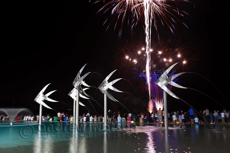 Fireworks over Esplanade Lagoon.  Cairns, Queensland, Australia