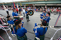 NWA Democrat-Gazette/BEN GOFF @NWABENGOFF<br /> The Ozark Highlanders Pipe Band plays Thursday, July 4, 2019, during the Bella Vista Patriots Parade at Sugar Creek Shopping Center.