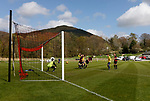 Keswick 1 Kendal 1, 15/04/2017. Fitz Park, Westmoreland League. The Kendal keeper collects a header. Photo by Paul Thompson.
