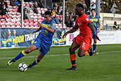 5th November 2017, Damson Park, Solihull, England; FA Cup first round, Solihull Moors versus Wycombe Wanderers; Jermaine Hylton of Solihull Moors tries to go round the outside of Anthony Stewart of Wycombe Wanderers