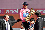 Maglia Rosa Richard Carapaz (ECU) Movistar Team wins the overall general classification at the end of Stage 21 the final stage of the 2019 Giro d'Italia, an individual time trial running 17km from Verona to Verona, Italy. 2nd June 2019<br /> Picture: Fabio Ferrari/LaPresse | Cyclefile<br /> <br /> All photos usage must carry mandatory copyright credit (© Cyclefile | Fabio Ferrari/LaPresse)