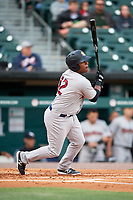 Scranton/Wilkes-Barre RailRiders shortstop Rey Navarro (12) follows through on a swing during a game against the Buffalo Bisons on May 18, 2018 at Coca-Cola Field in Buffalo, New York.  Buffalo defeated Scranton 5-1.  (Mike Janes/Four Seam Images)
