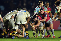 Lewis Boyce of Harlequins takes on the Wasps defence. European Rugby Champions Cup match, between Harlequins and Wasps on January 13, 2018 at the Twickenham Stoop in London, England. Photo by: Patrick Khachfe / JMP
