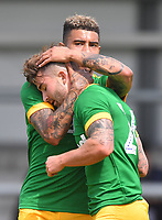 Preston North End's Sean Maguire is congratulated on scoring his team's 2nd goal<br /> <br /> Photographer Dave Howarth/CameraSport<br /> <br /> Football Pre-Season Friendly - AFC Flyde v Preston North End - Saturday July 13th 2019 - Mill Farm - Flyde<br /> <br /> World Copyright © 2019 CameraSport. All rights reserved. 43 Linden Ave. Countesthorpe. Leicester. England. LE8 5PG - Tel: +44 (0) 116 277 4147 - admin@camerasport.com - www.camerasport.com