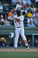 Designated hitter Kyri Washington (21) of the Greenville Drive bats in a game against the Columbia Fireflies on Sunday, April 24, 2016, at Fluor Field at the West End in Greenville, South Carolina. Greenville won, 5-1. (Tom Priddy/Four Seam Images)