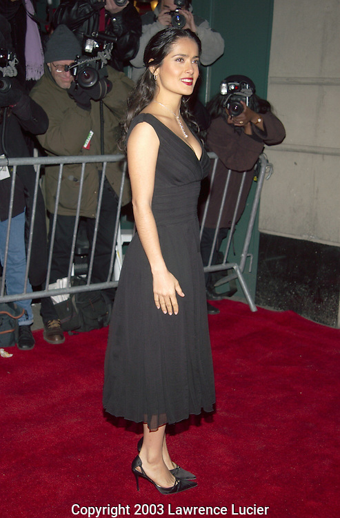 NEW YORK-JANUARY 12: Actress Salma Hayek arrives at the 2002 New York Film Critics Circle 68th Annual Awards Dinner January 12, 2002, at Noche in New York City.