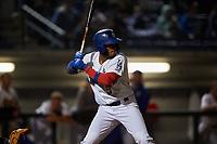 Rancho Cucamonga Quakes first baseman Cristian Santana (5) at bat during a California League game against the Lake Elsinore Storm at LoanMart Field on May 19, 2018 in Rancho Cucamonga, California. Lake Elsinore defeated Rancho Cucamonga 10-7. (Zachary Lucy/Four Seam Images)