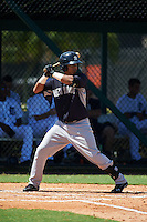 GCL Yankees 1 second baseman Bryan Cuevas (53) at bat during the first game of a doubleheader against the GCL Tigers on August 5, 2015 at Tigertown in Lakeland, Florida.  GCL Tigers derated the GCL Yankees 5-2.  (Mike Janes/Four Seam Images)