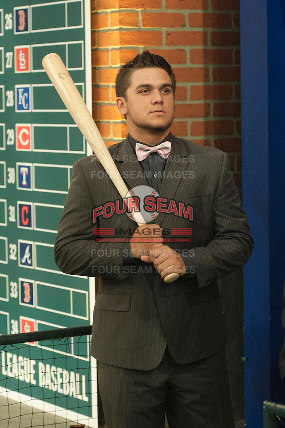 Infielder Michael Chavis (Sprayberry Senior  H.S. (GA)) the number 26 overall pick to the Boston RedSox during the MLB Draft on Thursday June 05,2014 at Studio 42 in Secaucus, NJ.   (Tomasso DeRosa/ Four Seam Images)