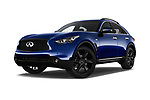 Stock pictures of low aggressive front three quarter view of a 2018 Infiniti QX70 S 5 Door SUV