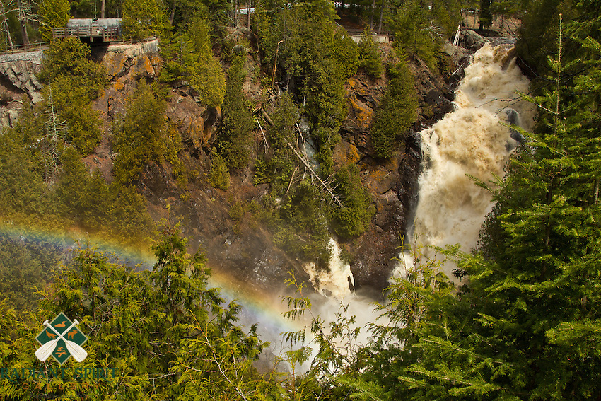 &quot;Rainbow at Big Manitou Falls&quot;<br /> <br /> During the rapid Spring melt, Big Manitou Falls at Pattison State Park was roaring. When the sun appeared, the rainbow in the mist of the falls painted the breathtaking scene. Big Manitou Falls is the tallest in Wisconsin at 165 feet, and fourth highest east of the Rocky Mountains.