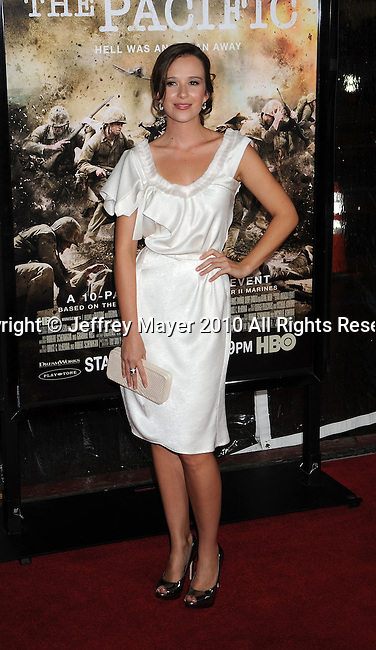 """LOS ANGELES, CA. - February 24: Claire van der Boom arrives to HBO's premiere of """"The Pacific"""" at Grauman's Chinese Theatre on February 24, 2010 in Los Angeles, California."""