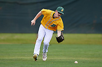 North Dakota State Bison outfielder Jake Malec (19) during warmups before a game against the Central Connecticut State Blue Devils on February 23, 2018 at North Charlotte Regional Park in Port Charlotte, Florida.  North Dakota State defeated Connecticut State 2-0.  (Mike Janes/Four Seam Images)