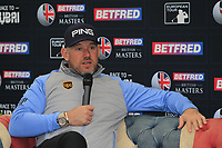 Lee Westwood (ENG) in the interview room during the Pro-Am of the Betfred British Masters 2019 at Hillside Golf Club, Southport, Lancashire, England. 08/05/19<br /> <br /> Picture: Thos Caffrey / Golffile<br /> <br /> All photos usage must carry mandatory copyright credit (© Golffile | Thos Caffrey)