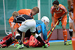 GER - Mannheim, Germany, May 16: During the whitsun tournament boys hockey match between Germany (black) and The Netherlands (orange) on May 16, 2016 at Mannheimer HC in Mannheim, Germany. Final score 4-3 (HT 2-0). (Photo by Dirk Markgraf / www.265-images.com) *** Local caption *** (L-R) Justen Blok #7 of The Netherlands Anton Brinckmann (TW) #1 of Germany (U16) Valentijn Charbon #6 of The Netherlands