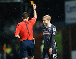 Ross County v St Johnstone...05.12.15  SPFL  Dingwall<br /> Andrew Davies is booked by ref Kevin Clancy for bringing down Michael O'Halloran<br /> Picture by Graeme Hart.<br /> Copyright Perthshire Picture Agency<br /> Tel: 01738 623350  Mobile: 07990 594431