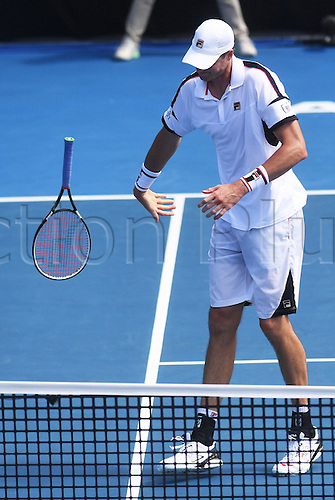 12.01.2017. ASB Tennis Centre, Auckland, New Zealand. ASB Classic Tennis, Day 13. USA's John Isner throws his racquet during his quarter final singles match at the ASB Classic.  Isner lost the match.