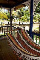 Hammock outside a guest cabin at the Arenas Beach hotel  on Big Corn Island, Nicaragua
