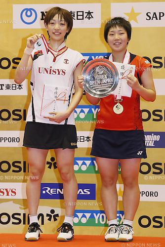 (L to R) Shizuka Uchida (JPN), Akane Yamaguchi (JPN), SEPTEMBER 22, 2013 - Badminton : Yonex Open Japan 2013 Women's Singles victory ceremony at Tokyo Metropolitan Gymnasium, Tokyo, Japan. (Photo by Yusuke Nakanishi/AFLO SPORT) [1090]