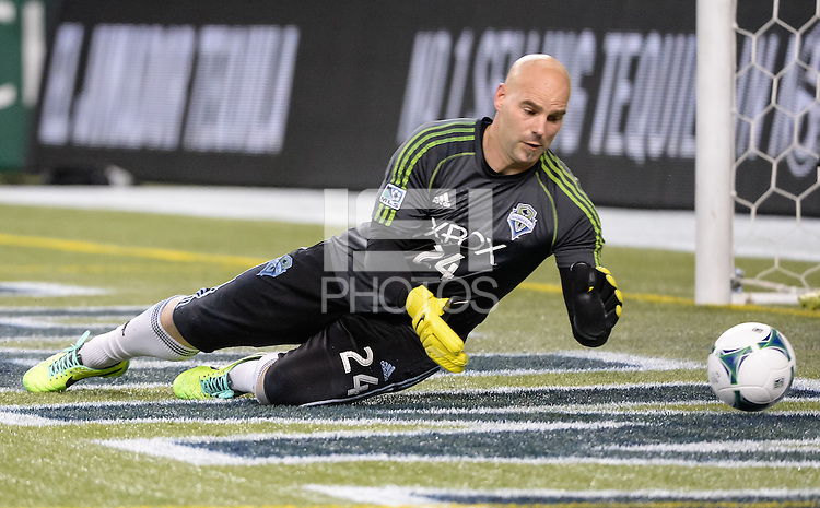November, 2013: CenturyLink Field, Seattle, Washington:  Seattle Sounders FC goalkeeper Marcus Hahnemann (24) warms up as the Portland Timbers defeat  the Seattle Sounders FC 2-1 in the Major League Soccer Playoffs semifinals Round.