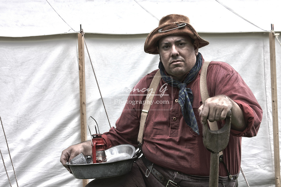 A miner in a mining camp old west reenactment