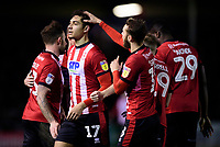 Lincoln City's Tyler Walker celebrates scoring his side's second goal with team-mate Jorge Grant, right<br /> <br /> Photographer Chris Vaughan/CameraSport<br /> <br /> The EFL Sky Bet League One - Lincoln City v Bolton Wanderers - Tuesday 14th January 2020  - LNER Stadium - Lincoln<br /> <br /> World Copyright © 2020 CameraSport. All rights reserved. 43 Linden Ave. Countesthorpe. Leicester. England. LE8 5PG - Tel: +44 (0) 116 277 4147 - admin@camerasport.com - www.camerasport.com