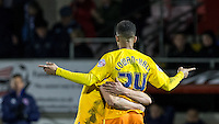 Paris Cowan-Hall of Wycombe Wanderers celebrates his goal during the Sky Bet League 2 match between Dagenham and Redbridge and Wycombe Wanderers at the London Borough of Barking and Dagenham Stadium, London, England on 9 February 2016. Photo by Andy Rowland.