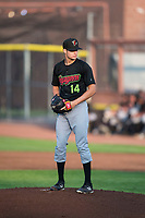 Great Falls Voyagers starting pitcher Jason Bilous (14) prepares to deliver a pitch during a Pioneer League game against the Idaho Falls Chukars at Melaleuca Field on August 18, 2018 in Idaho Falls, Idaho. The Idaho Falls Chukars defeated the Great Falls Voyagers by a score of 6-5. (Zachary Lucy/Four Seam Images)