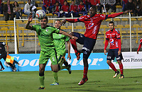 BOGOTA - COLOMBIA - 21 - 10 - 2017: Francisco Najera (Izq.) jugador de La Equidad disputa el balón con Juan Caicedo (Der.) jugador del iIndependiente Medellín, durante partido entre La Equidad y el Indeendiente Medellín,  por la fecha 16 de la Liga Aguila II-2017, jugado en el estadio Metropolitano de Techo de la ciudad de Bogota. / Francisco Najera (L) player of La Equidad vies for the ball with Juan Caicedo (R) player of Independiente Medellin, during a match between La Equidad and Indepndiente Medellin, for the  date 16nd of the Liga Aguila II-2017 at the Metropolitano de Techo Stadium in Bogota city, Photo: VizzorImage  /Felipe Caicedo / Staff.