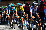 The peloton including Yellow Jersey Jakob Fuglsang (DEN) Astana Pro Team in action during Stage 8 of the Criterium du Dauphine 2019, running 113.5km from Cluses to Champery, Switzerland. 16th June 2019.<br /> Picture: ASO/Alex Broadway | Cyclefile<br /> All photos usage must carry mandatory copyright credit (© Cyclefile | ASO/Alex Broadway)