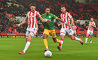 Preston North End's Scott Sinclair battles with Stoke City's Danny Batth<br /> <br /> Photographer Dave Howarth/CameraSport<br /> <br /> The EFL Sky Bet Championship - Stoke City v Preston North End - Wednesday 12th February 2020 - bet365 Stadium - Stoke-on-Trent <br /> <br /> World Copyright © 2020 CameraSport. All rights reserved. 43 Linden Ave. Countesthorpe. Leicester. England. LE8 5PG - Tel: +44 (0) 116 277 4147 - admin@camerasport.com - www.camerasport.com