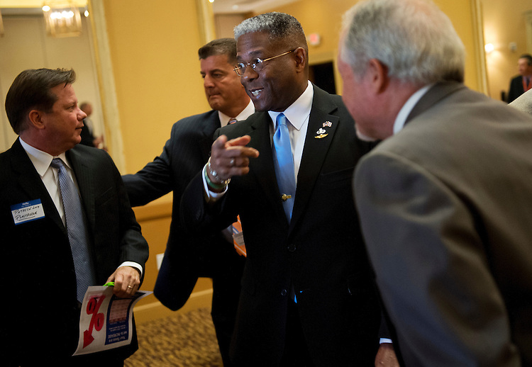 UNITED STATES - AUGUST 23:  Rep. Allen West, R-Fla., of Florida's 18th District, talks with a attendees of a meeting of the Independent Insurance Agents of Palm Beach County, in West Palm Beach, Fla.  West is running against democrat Patrick Murphy.  (Photo By Tom Williams/CQ Roll Call)