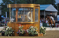 16.05.2014.  Windsor Horse Show London Nikki Crisp (GBR) riding Pasoa  being watched by the judging panel during the CD13* FEI Grand Prix Freestyle to music