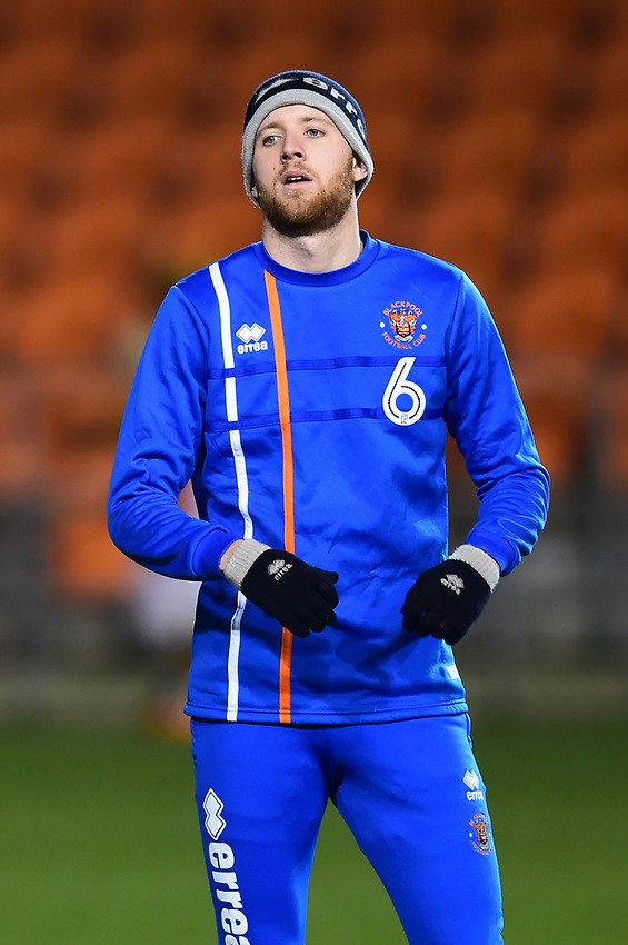 Blackpool's Will Aimson warms up<br /> <br /> Photographer Richard Martin-Roberts/CameraSport<br /> <br /> The EFL Sky Bet League One - Blackpool v Charlton Athletic - Tuesday 13th March 2018 - Bloomfield Road - Blackpool<br /> <br /> World Copyright &copy; 2018 CameraSport. All rights reserved. 43 Linden Ave. Countesthorpe. Leicester. England. LE8 5PG - Tel: +44 (0) 116 277 4147 - admin@camerasport.com - www.camerasport.com