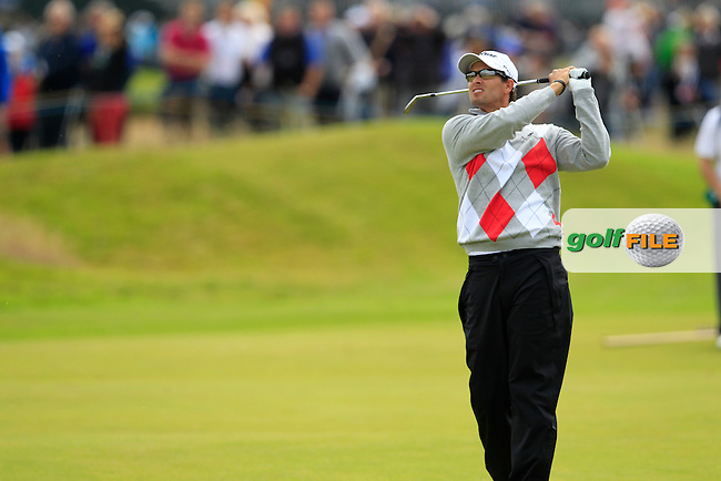 Adam Scott (AUS) plays his 2nd shot on the 14th hole during Thursday's Round 1 of the 141st Open Championship at Royal Lytham & St.Annes, England 19th July 2012 (Photo Eoin Clarke/www.golffile.ie)