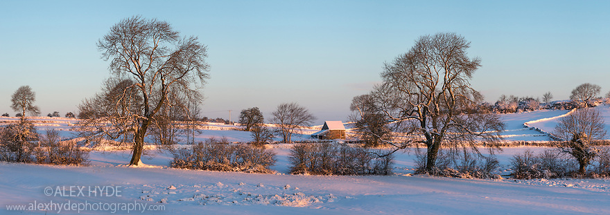 Stone field barn following heavy snowfall. Bonsall, Peak District Natioanl Park, Derbyshire. December. Digitally stitched panorama.